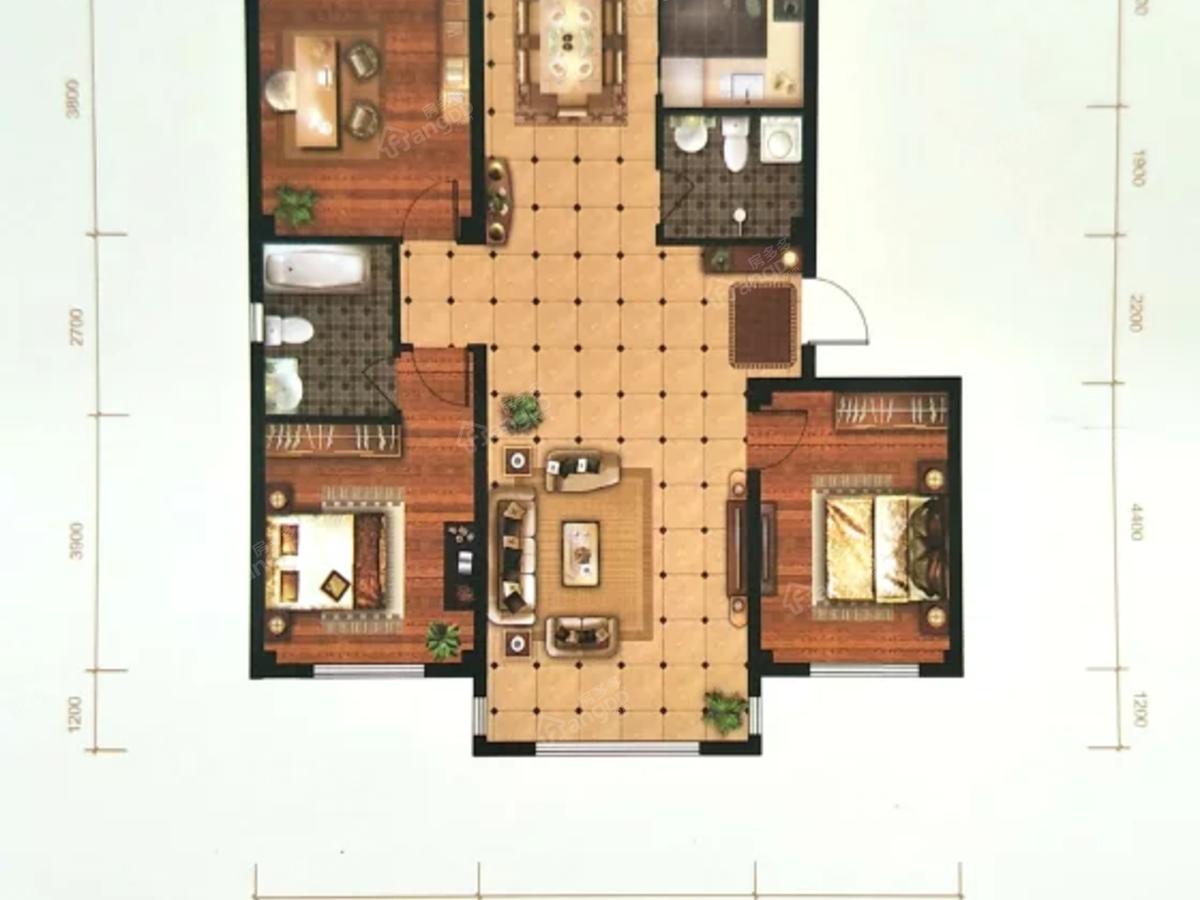 中央花园3室2厅2卫户型图