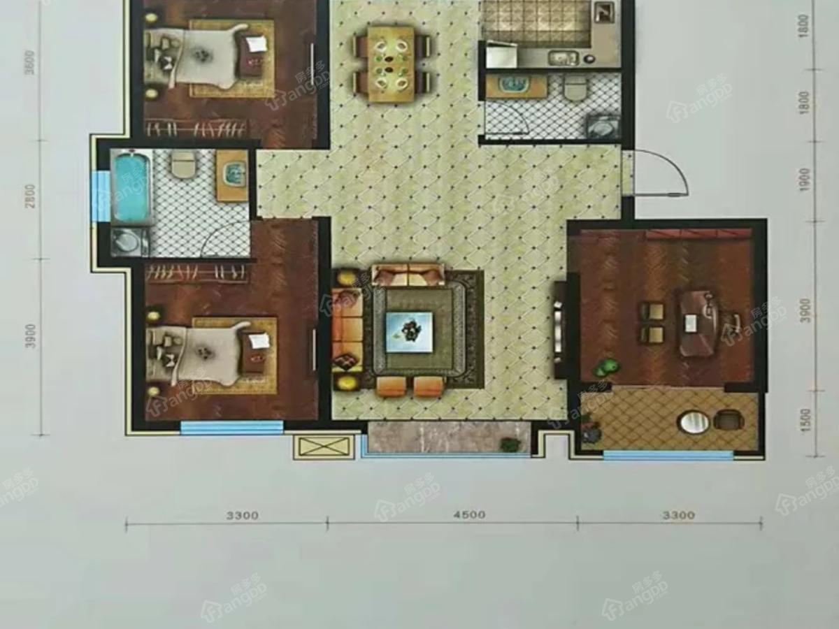华溪龙城三期3室2厅2卫户型图