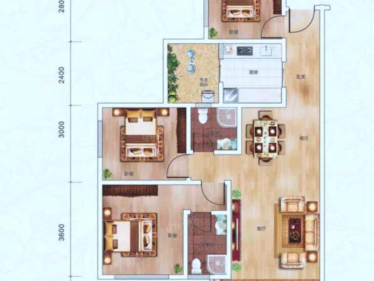阳光中央公园3室2厅2卫户型图