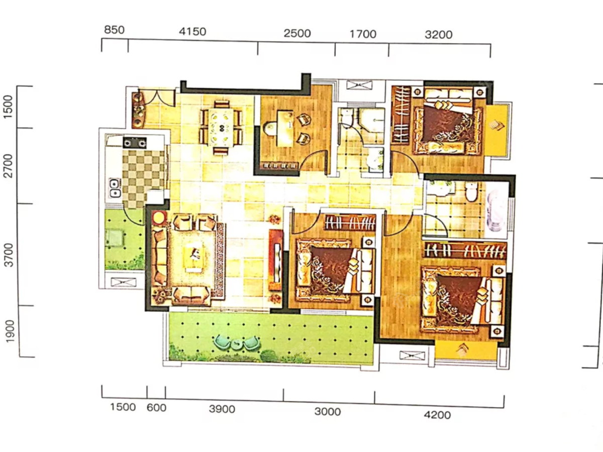 拓海·山语城4室2厅2卫户型图