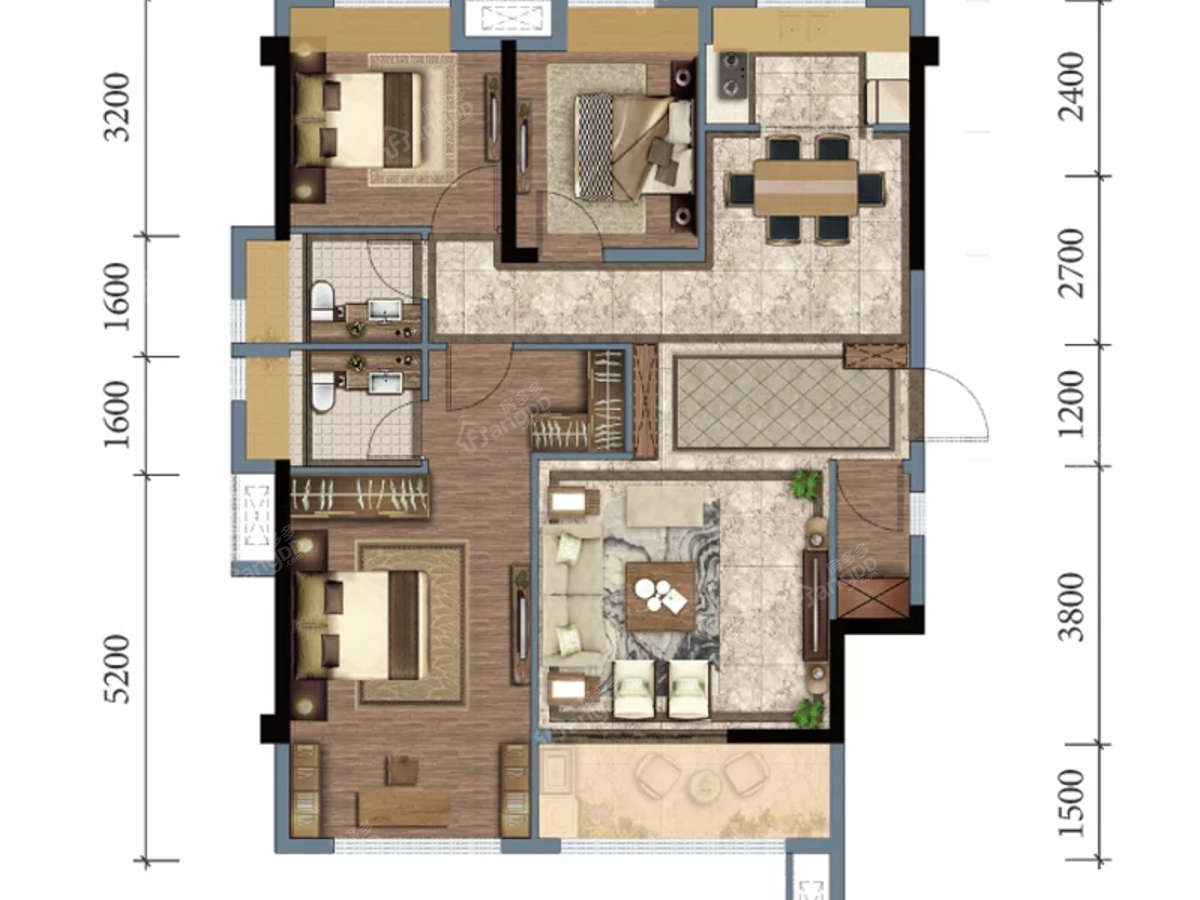 远晟壹号院3室2厅2卫户型图