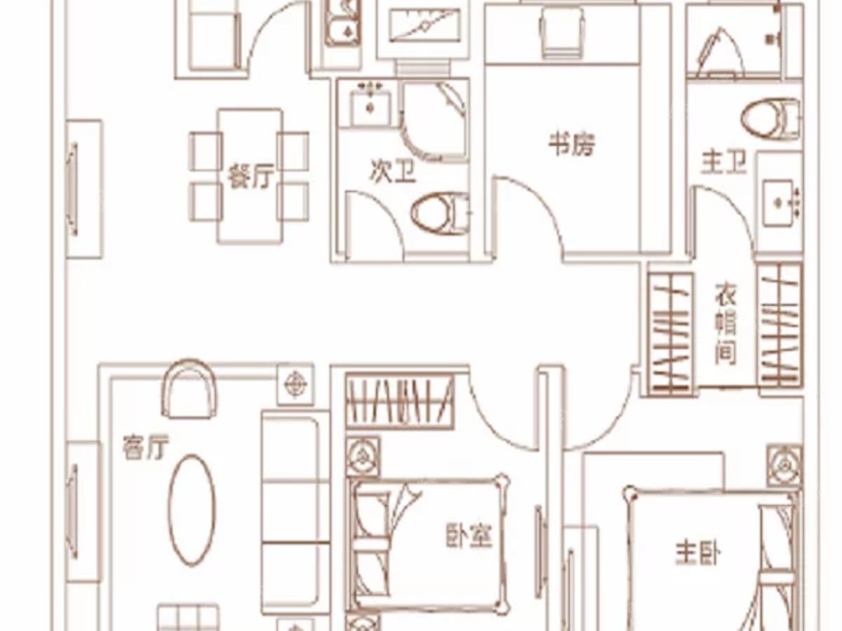 建业璟园3室2厅2卫户型图