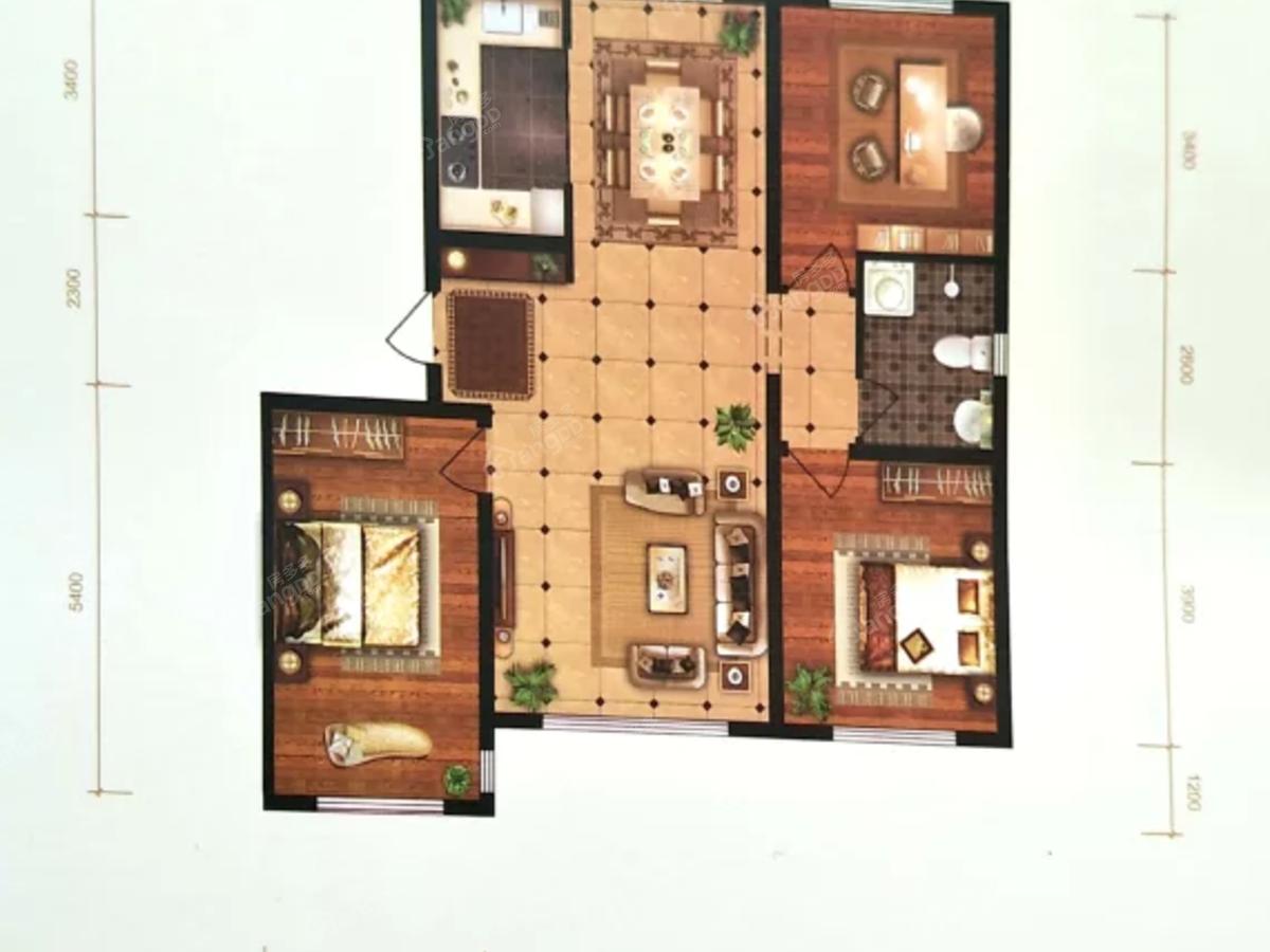 中央花园3室2厅1卫户型图