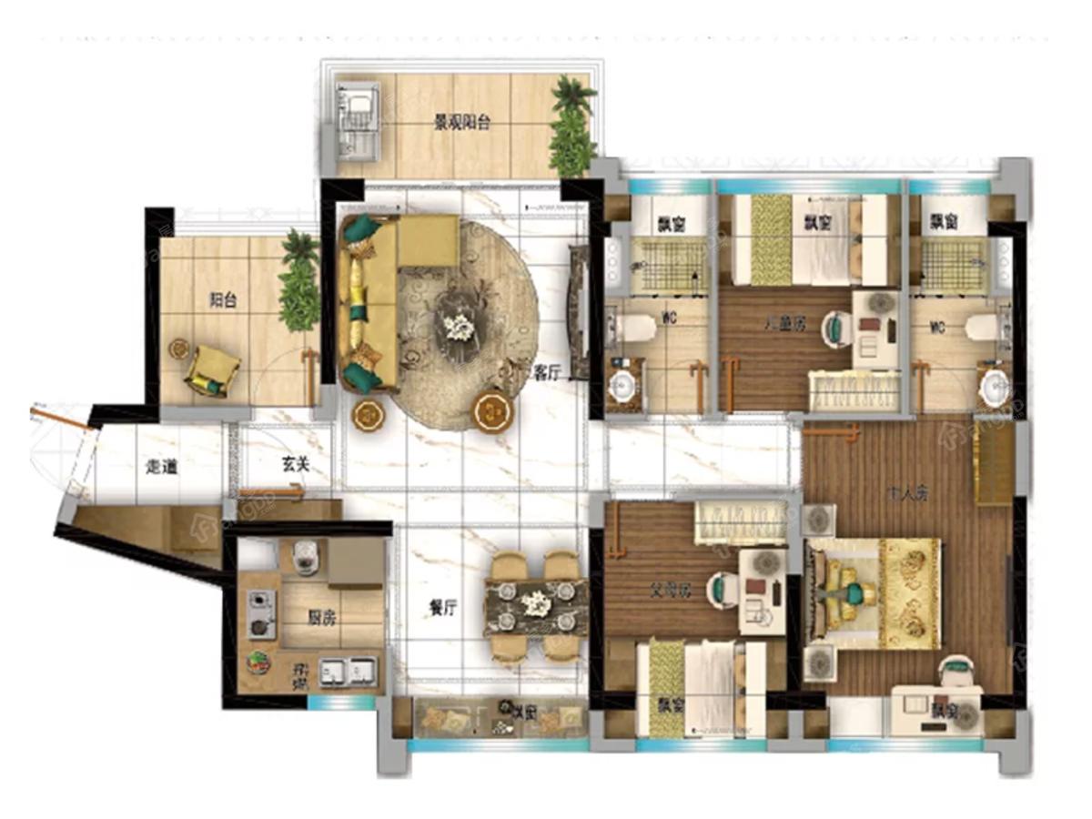 碧桂园·华发滨海天际4室2厅2卫户型图