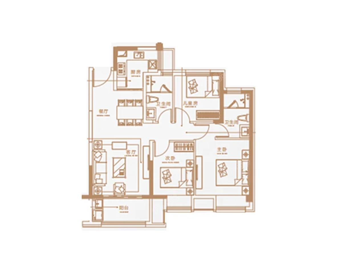 海伦堡·云璟台3室2厅2卫户型图