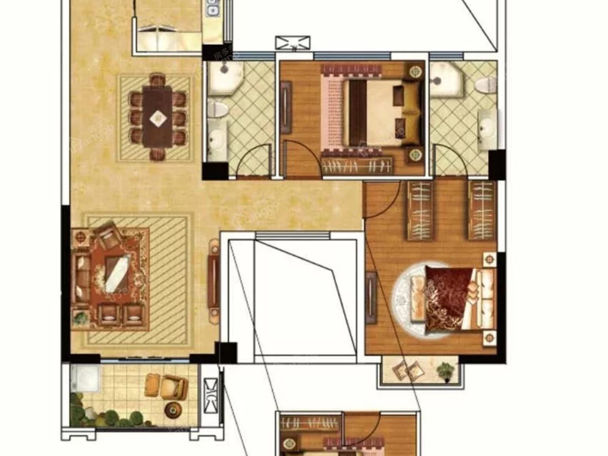 屏南瑞生璟园3室2厅2卫户型图