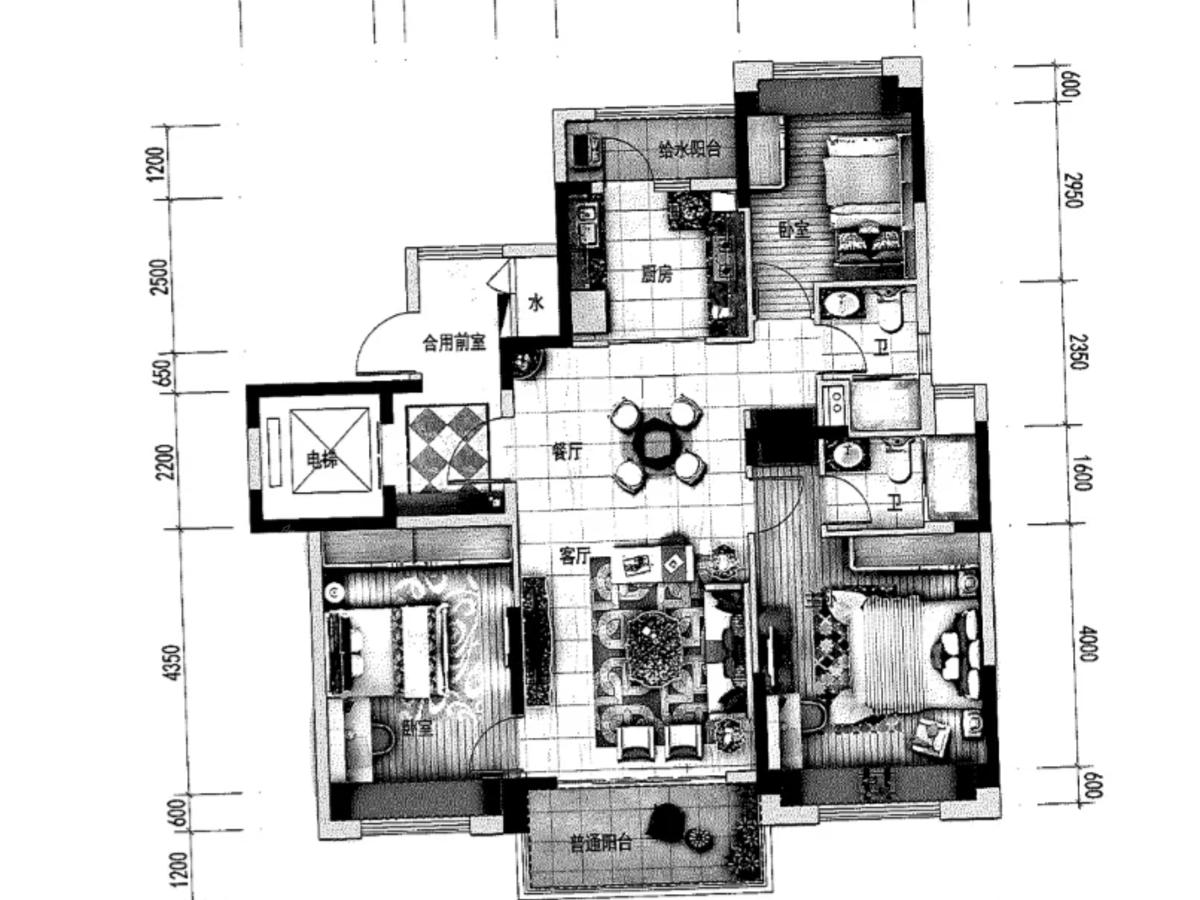 元谋碧桂园3室2厅2卫户型图