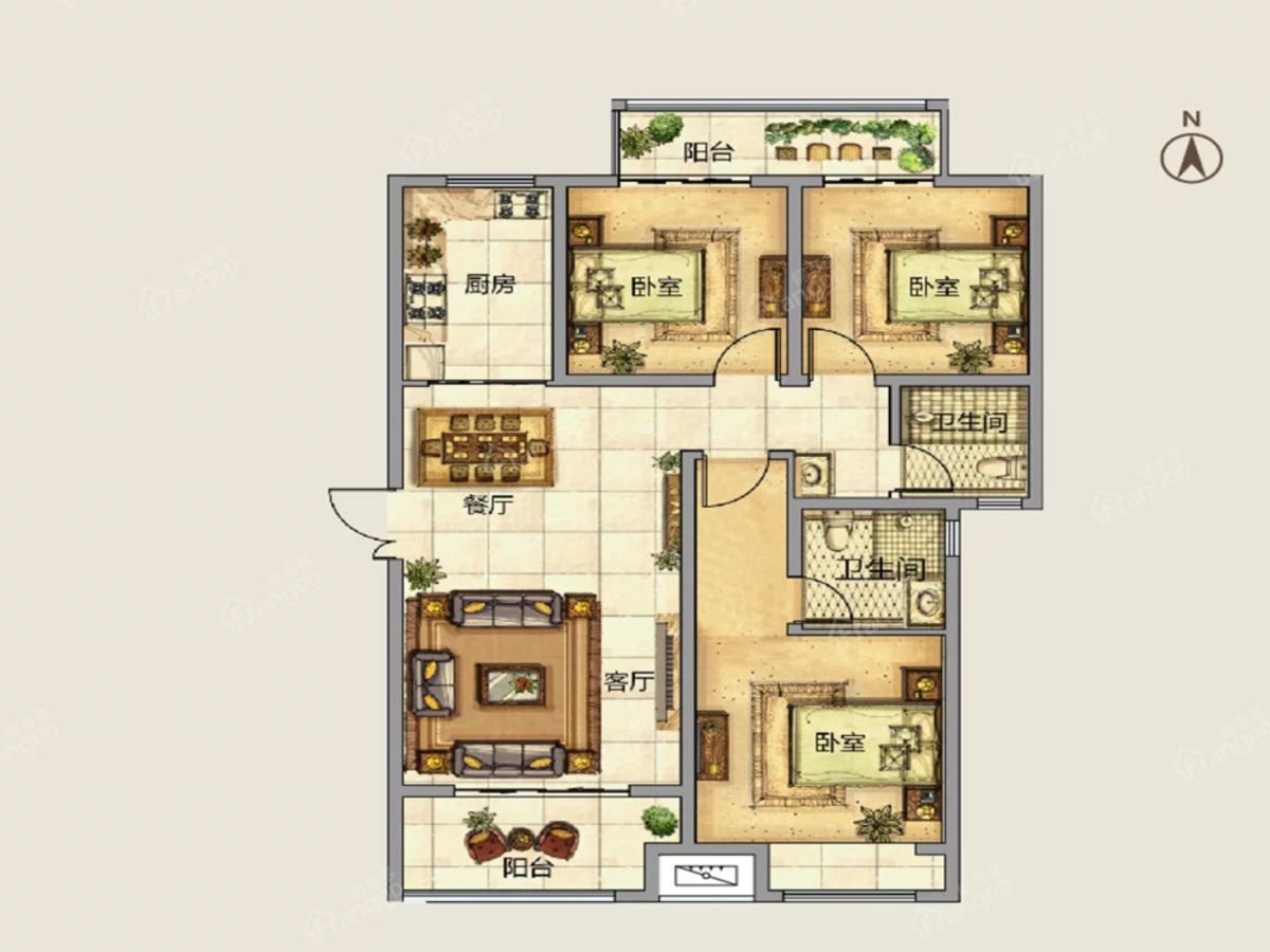 建业春天里3室2厅2卫户型图