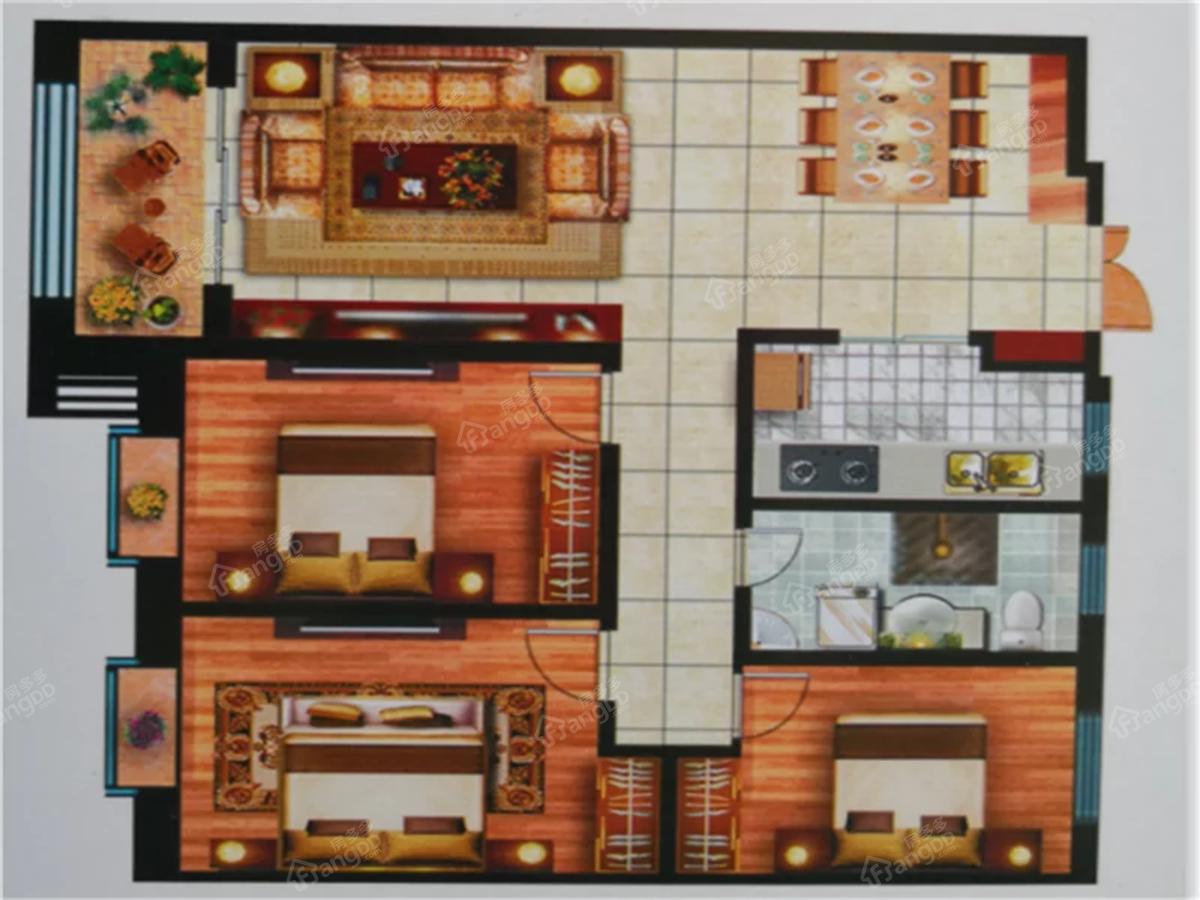 晟大名都3室2厅1卫户型图
