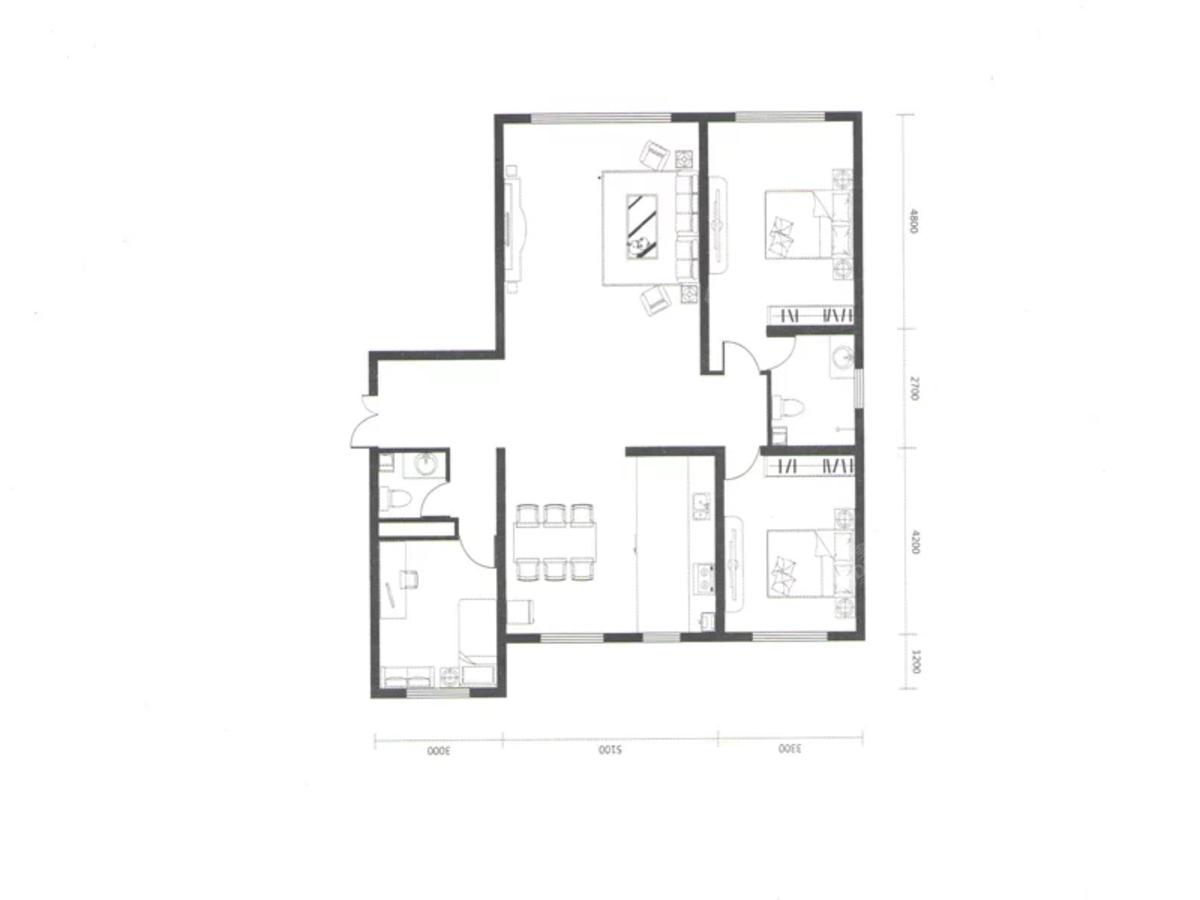 时光城2室2厅2卫户型图