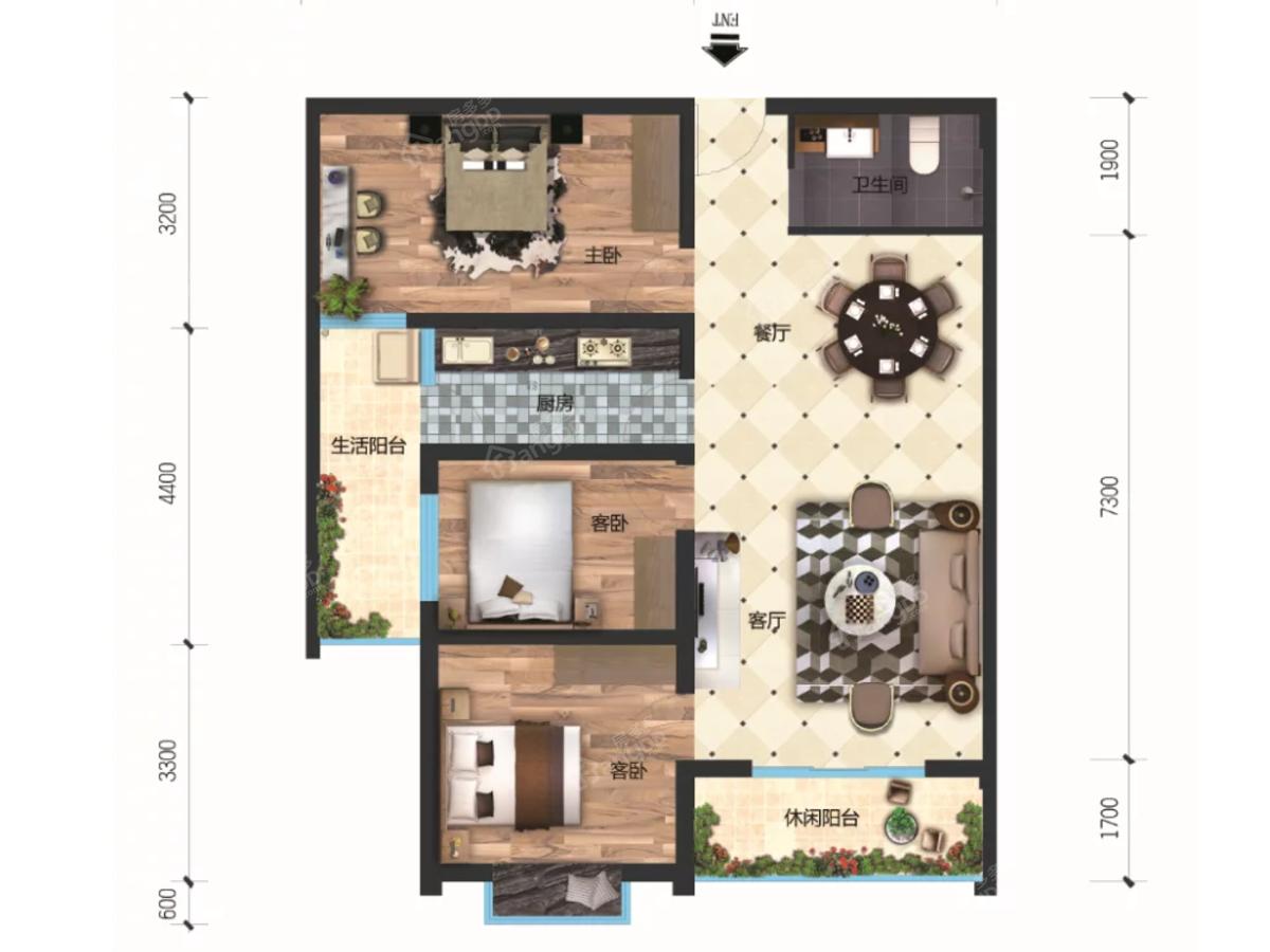 洪博财富中心3室2厅1卫户型图
