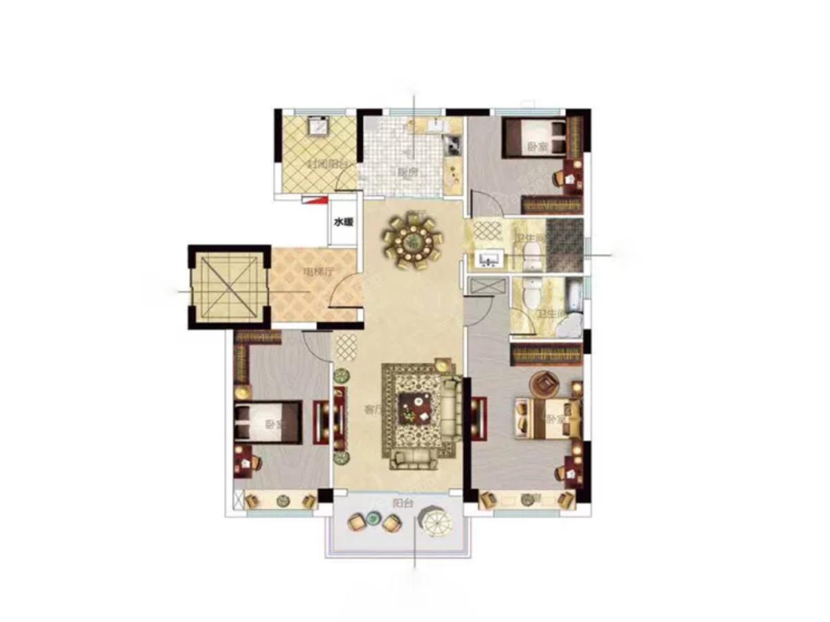 碧桂园·樾府3室2厅2卫户型图
