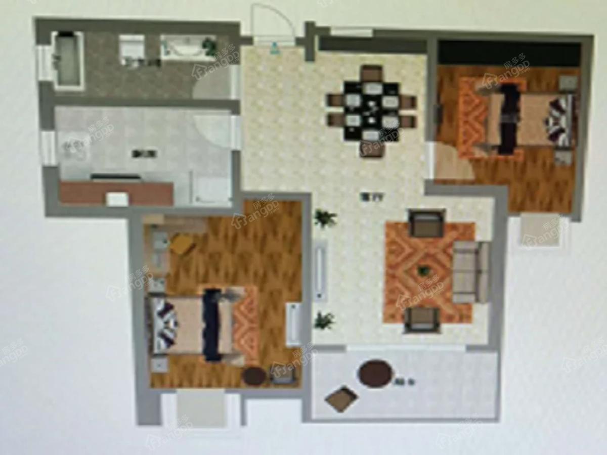 鼎圣唐人首府2室2厅1卫户型图