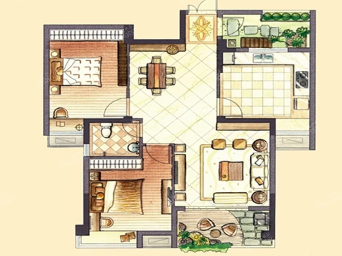 翡翠城2室2厅1卫户型图