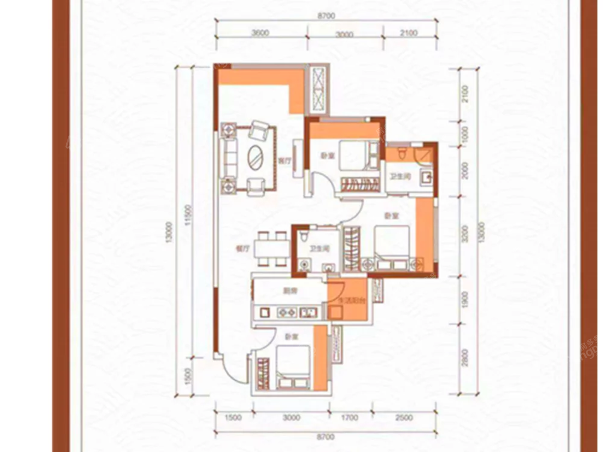 阳光印江山3室2厅2卫户型图