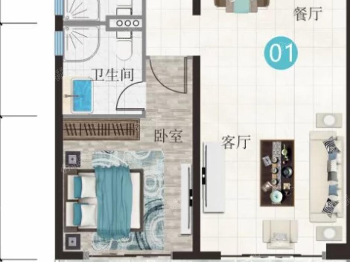 万豪海陵湾1号2室2厅2卫户型图