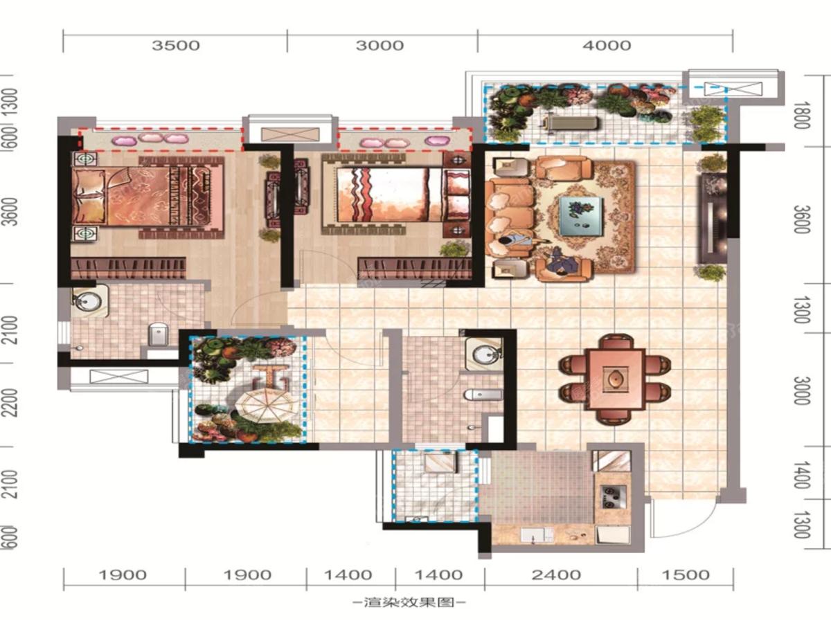 太谷广场2室2厅2卫户型图