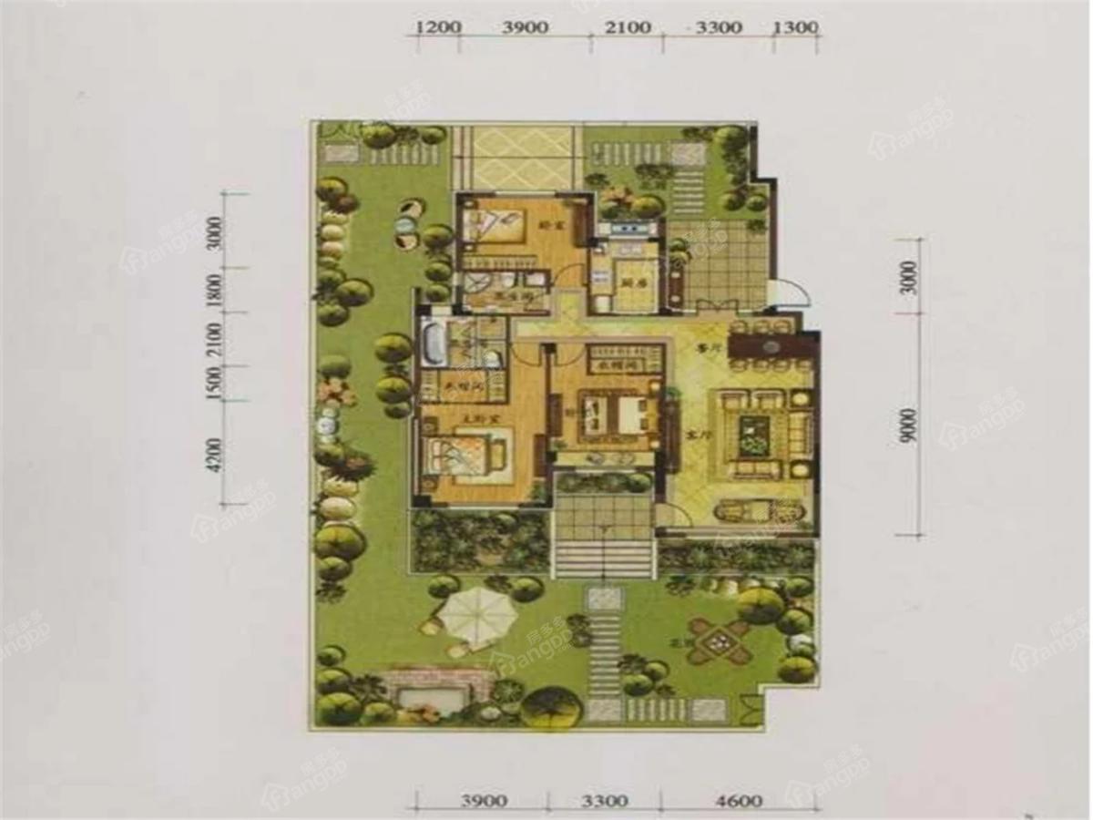 鞍山港中旅汤泉公馆3室2厅2卫户型图