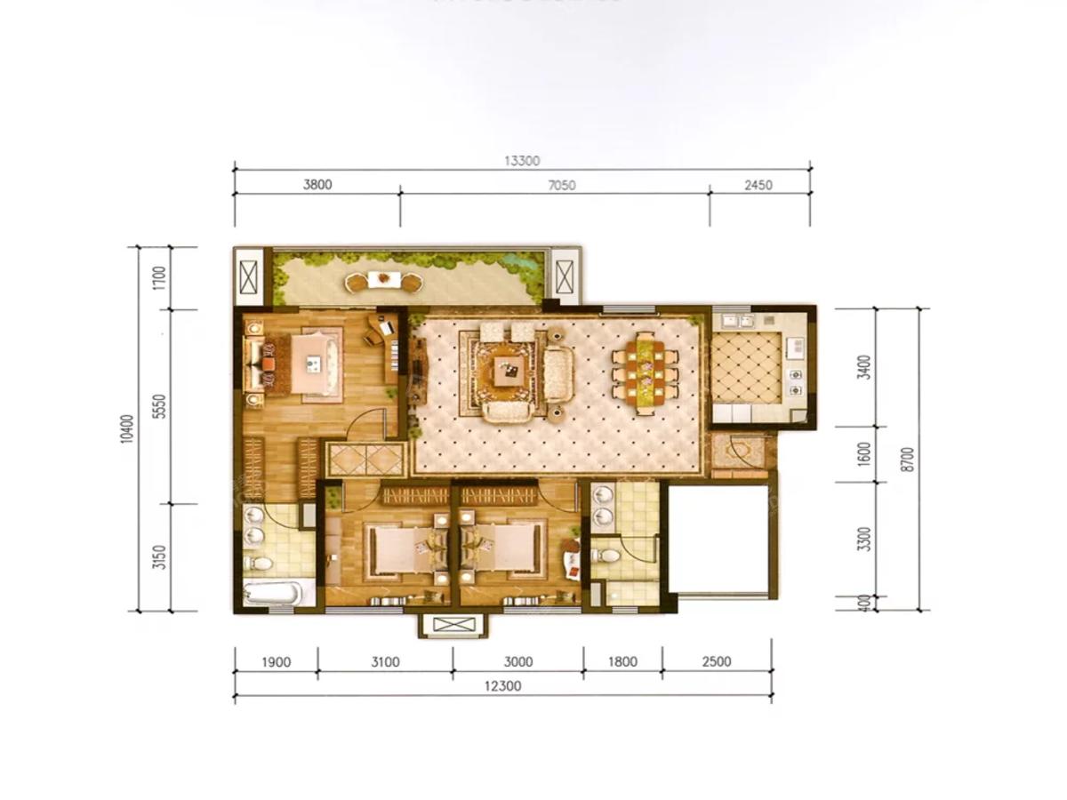 金科博翠湾4室2厅2卫户型图