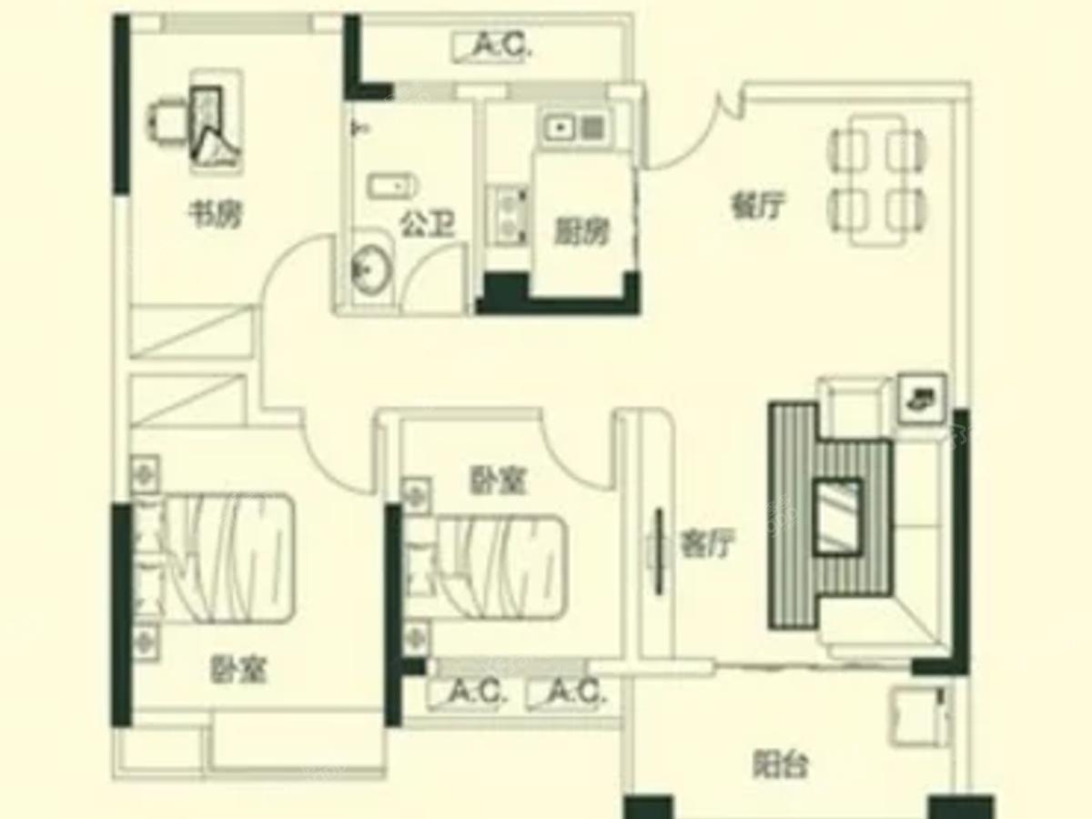 中航元·公园1号3室2厅1卫户型图