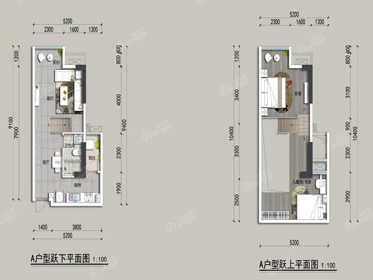 鼎仁悦湖居2室2厅1卫户型图