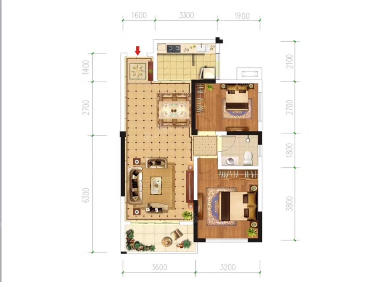 远达第一城2室2厅1卫户型图