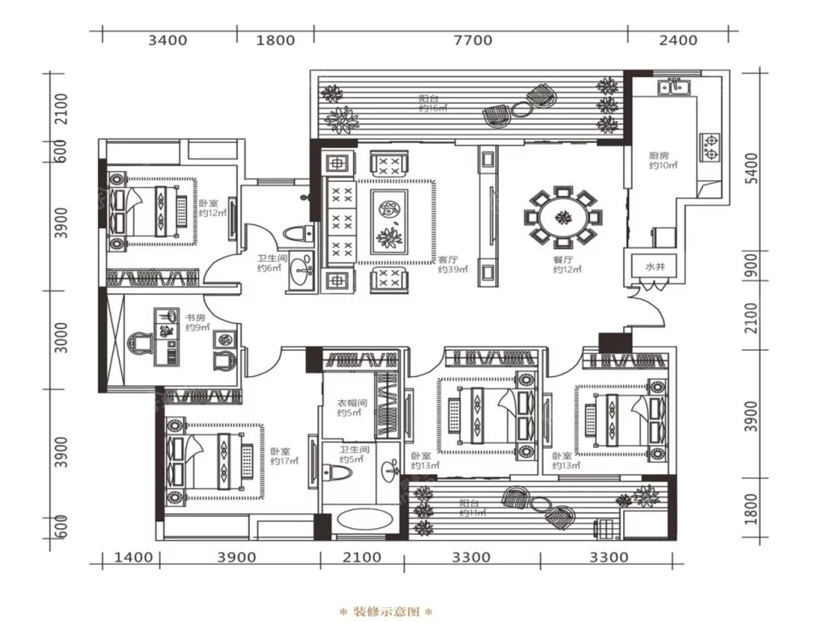 连珠畔岛5室2厅2卫户型图