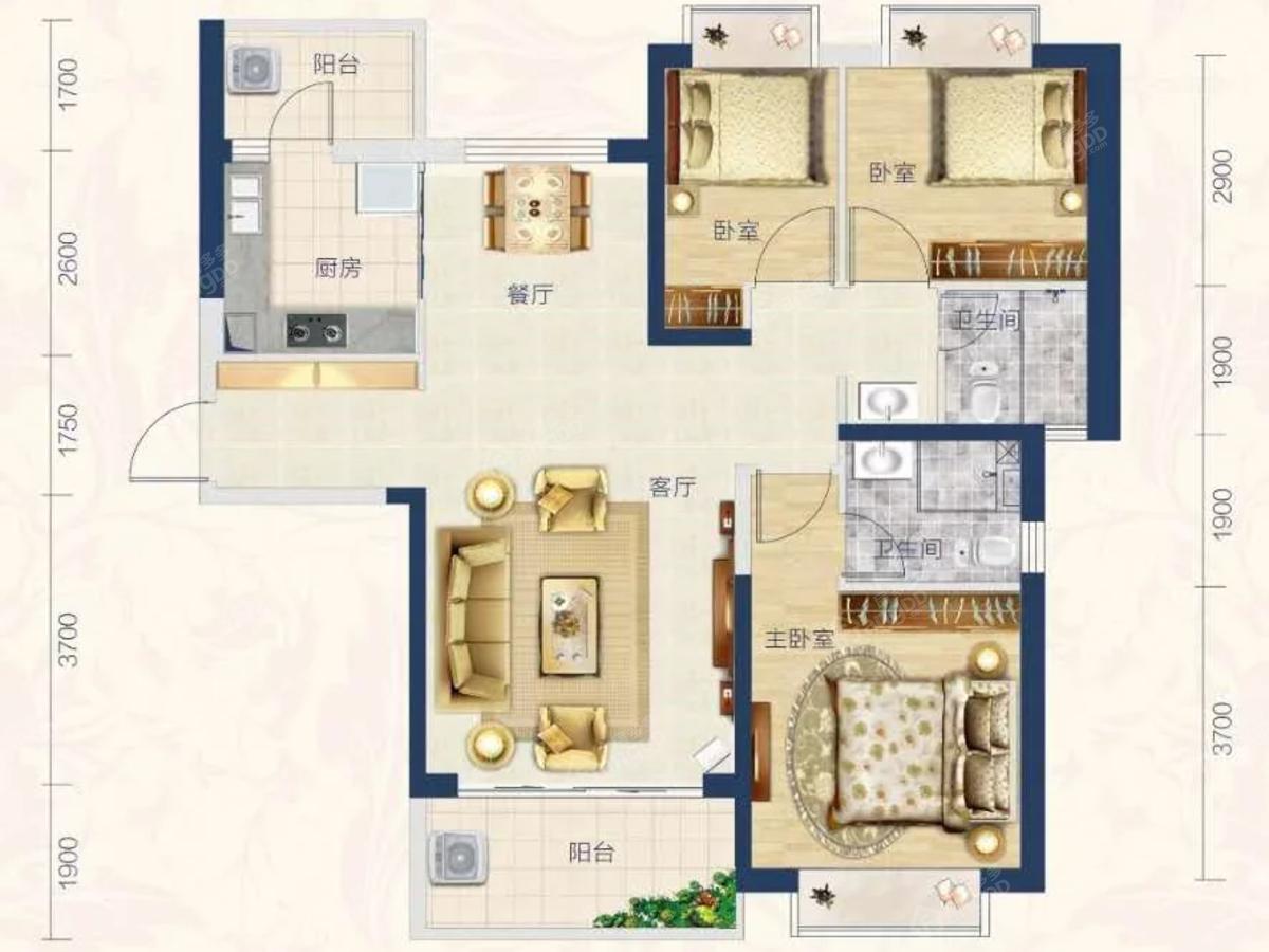 汕尾恒大悦珑湾3室2厅2卫户型图