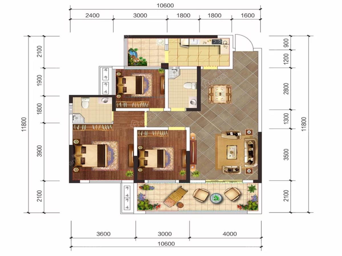 远达.未来城3室2厅2卫户型图