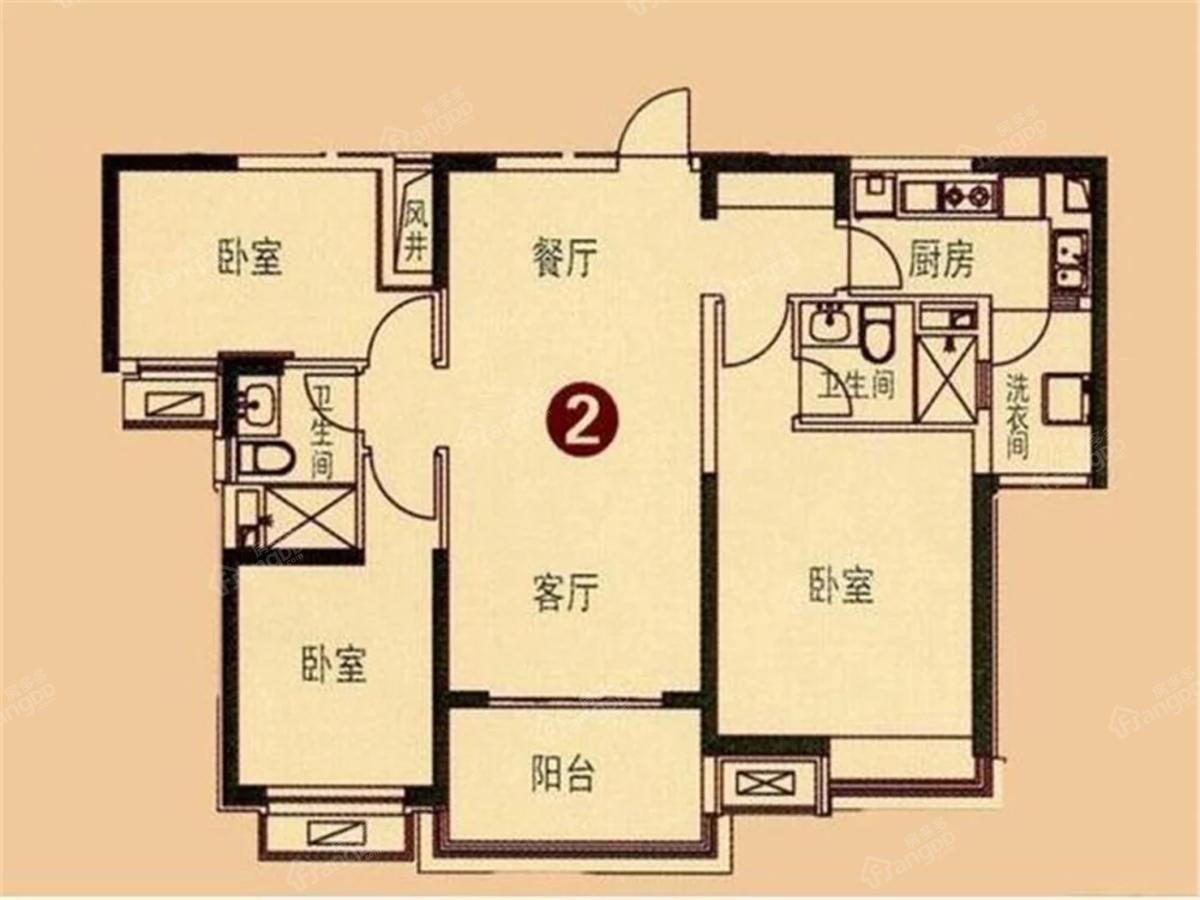 瑞达锦华公馆3室2厅1卫户型图