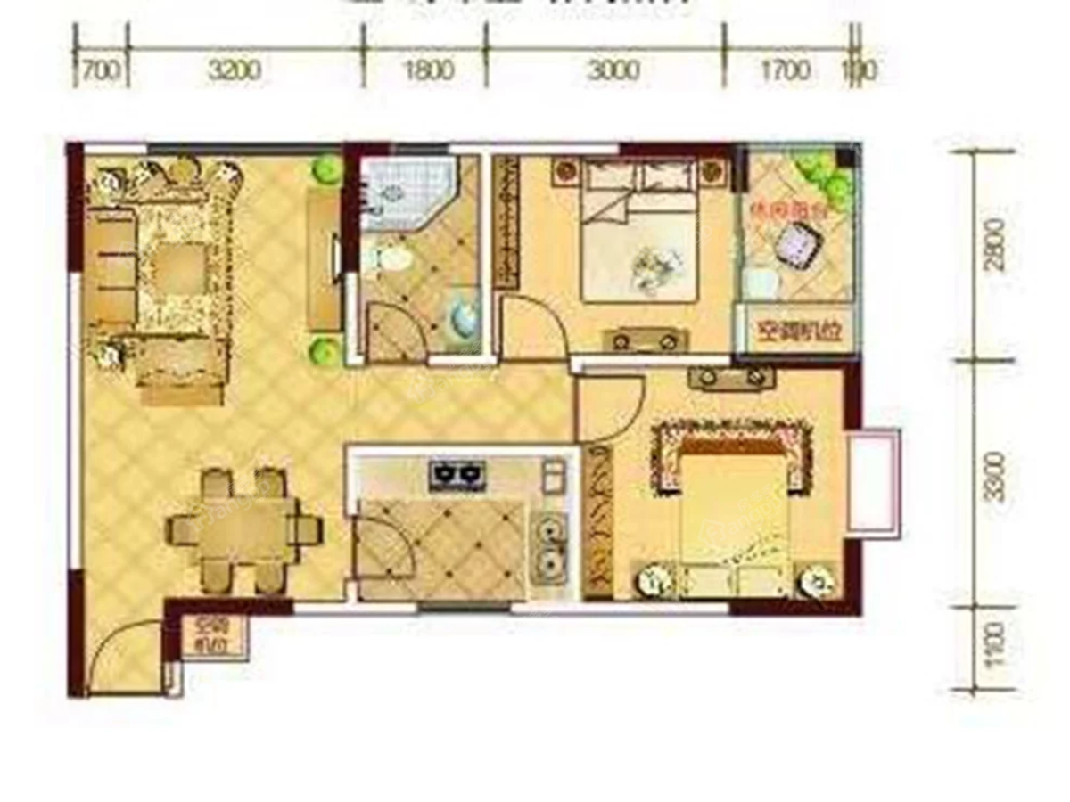 巴河金典2室2厅1卫户型图