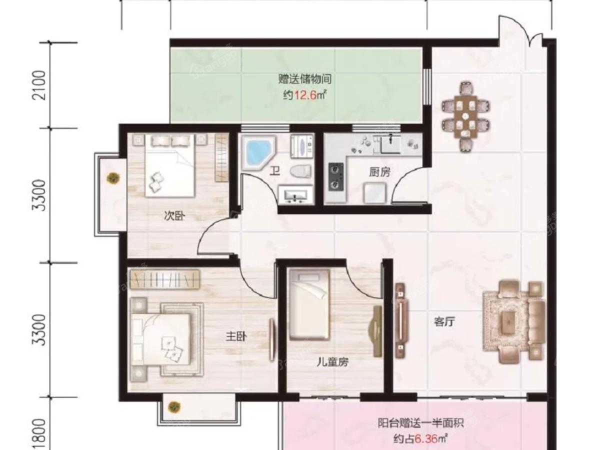 贵安新区第一城3室2厅1卫户型图
