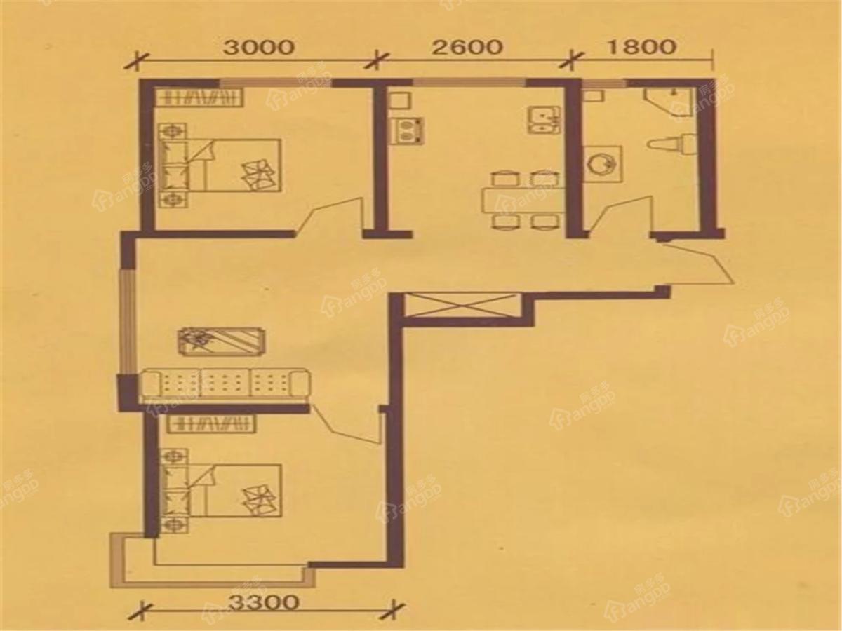 龙山国际2室2厅1卫户型图