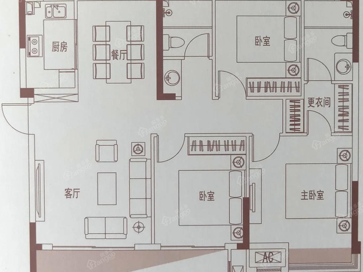中辉学府3室2厅2卫户型图