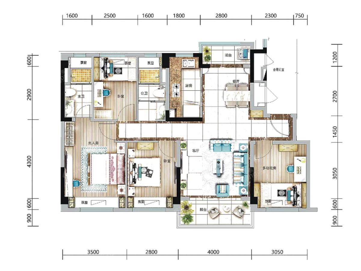 碧桂园西南上城4室2厅2卫户型图