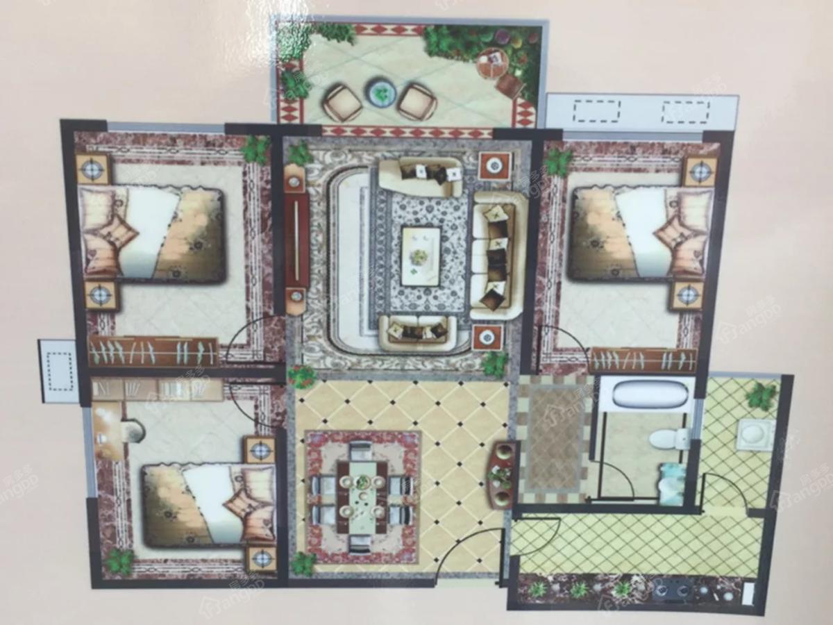 汉城国际3室2厅1卫户型图