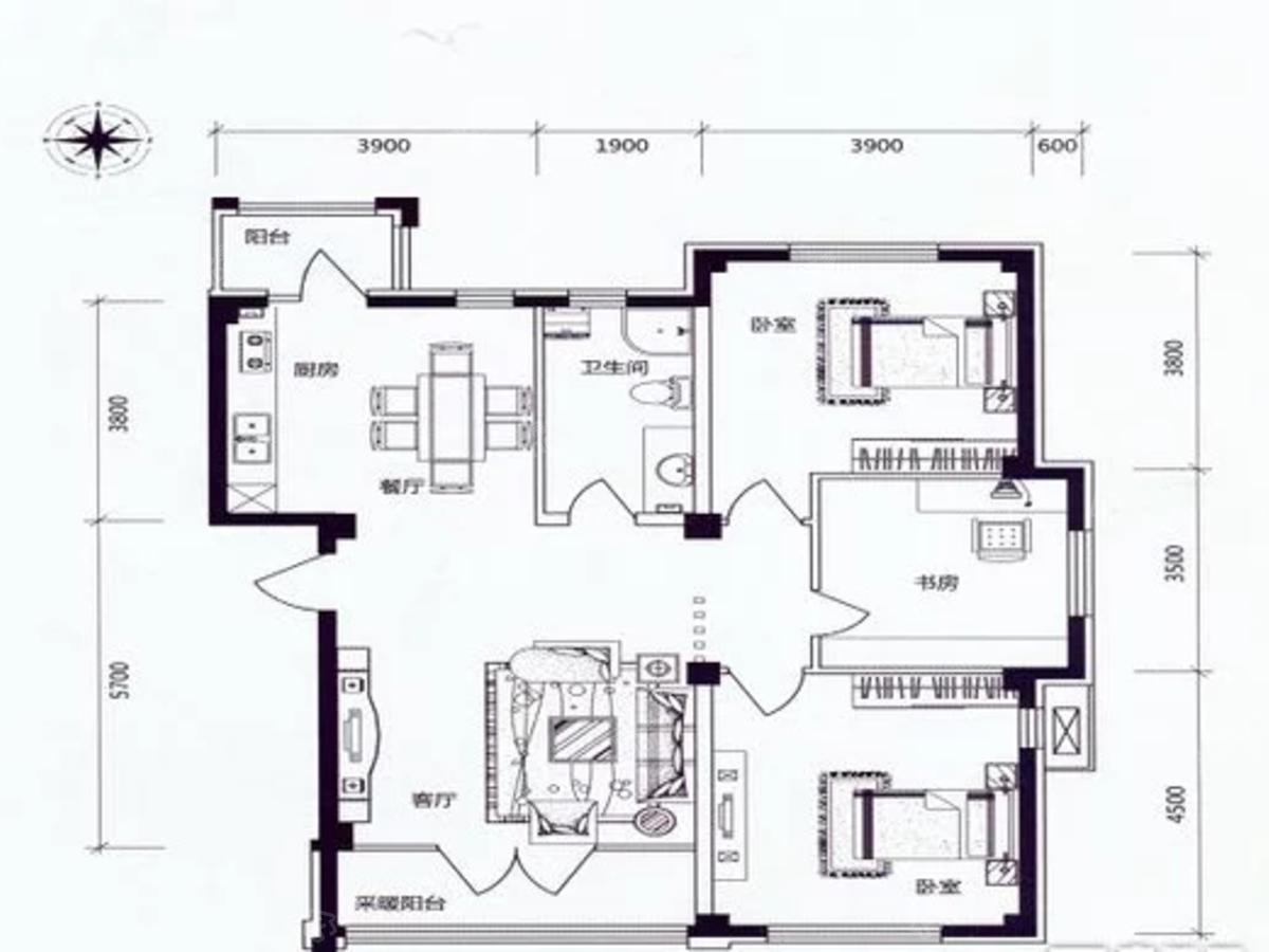 学伟鑫城3室2厅1卫户型图
