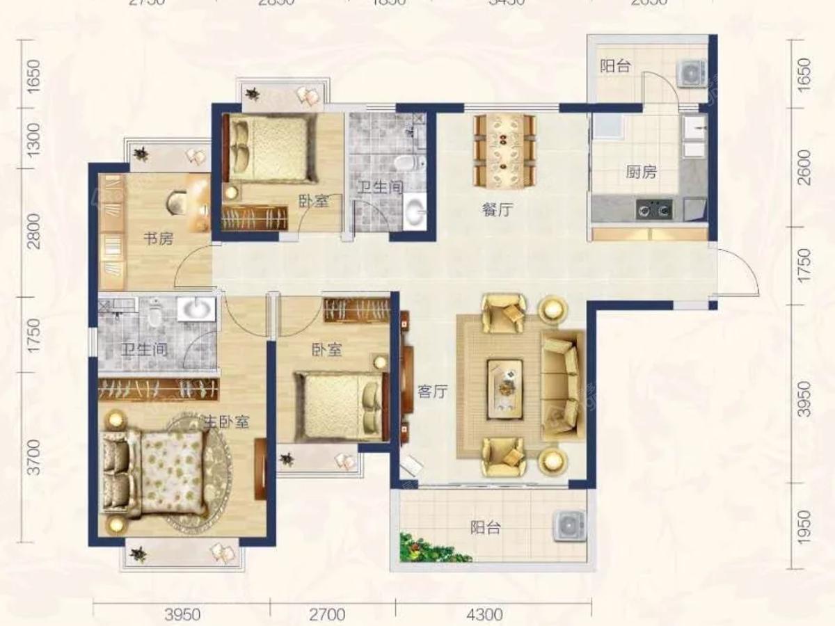 汕尾恒大悦珑湾4室2厅2卫户型图