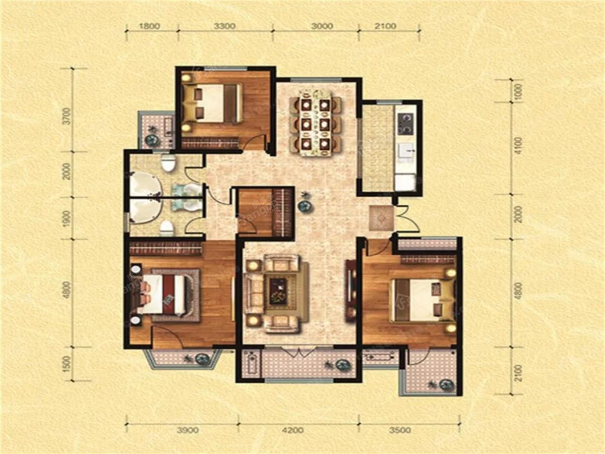 爱家华府3室2厅2卫户型图