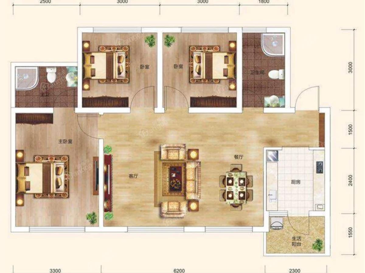 阳光滨江1号3室2厅2卫户型图
