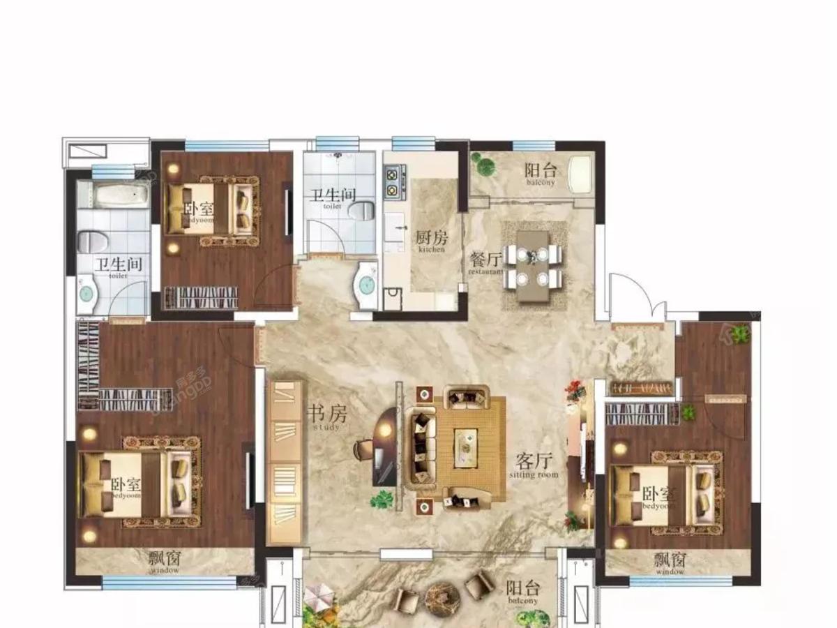 邓州建业·公园里4室2厅2卫户型图