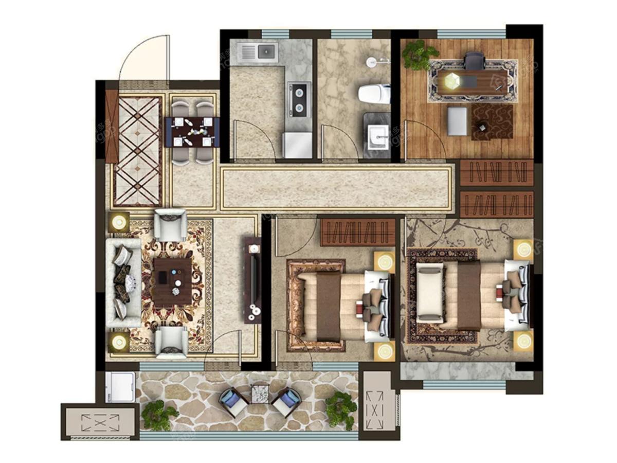 众安·青岛新城市3室2厅1卫户型图