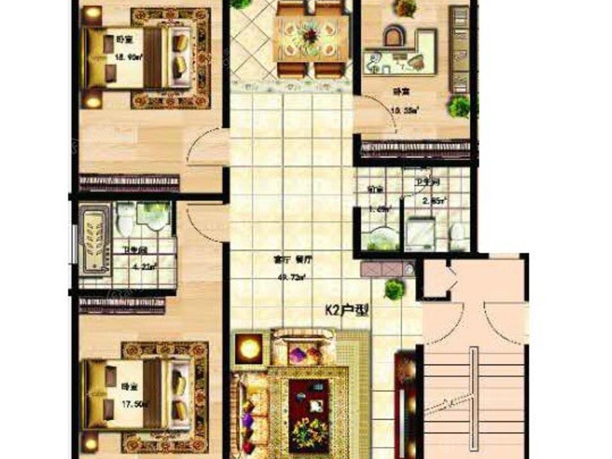 大众·山水名园3室2厅2卫户型图