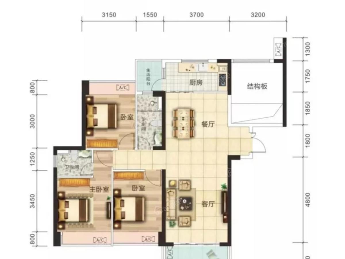 沿江壹号3室2厅2卫户型图