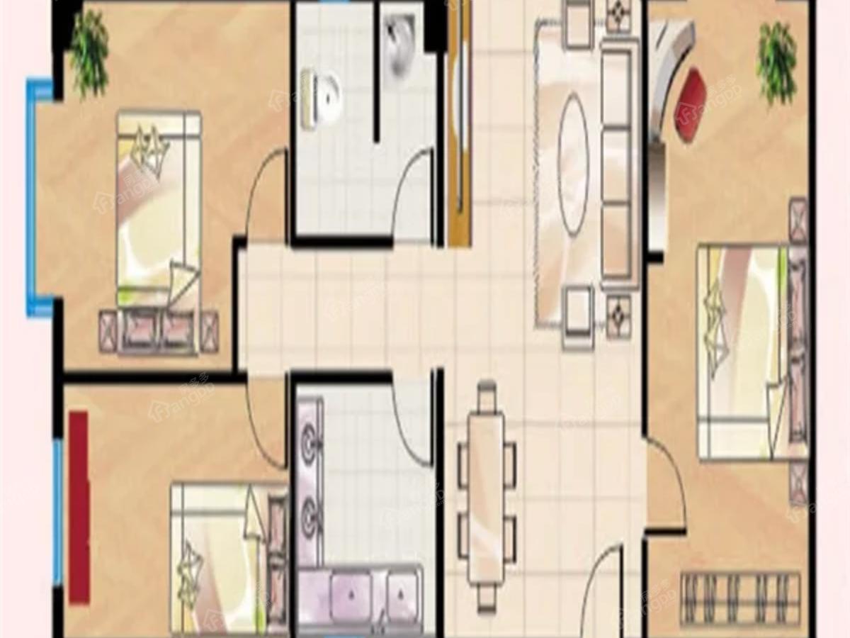 汇泉丽都3室2厅1卫户型图