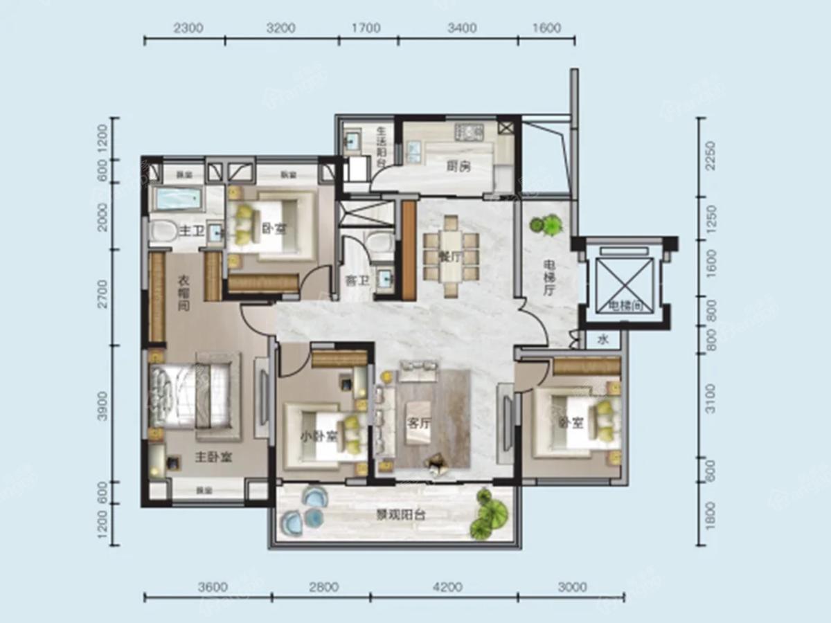 中核顺安府4室2厅2卫户型图