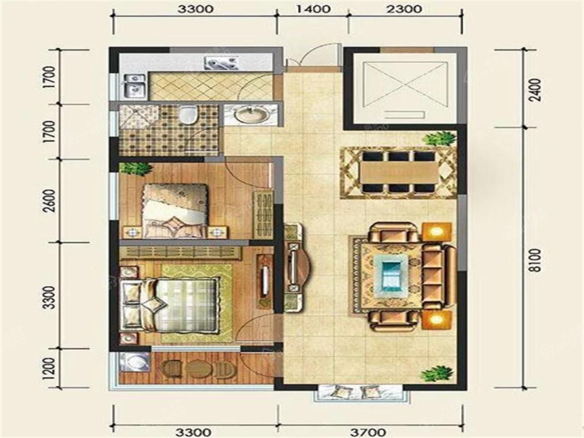 上东国际2室2厅1卫户型图