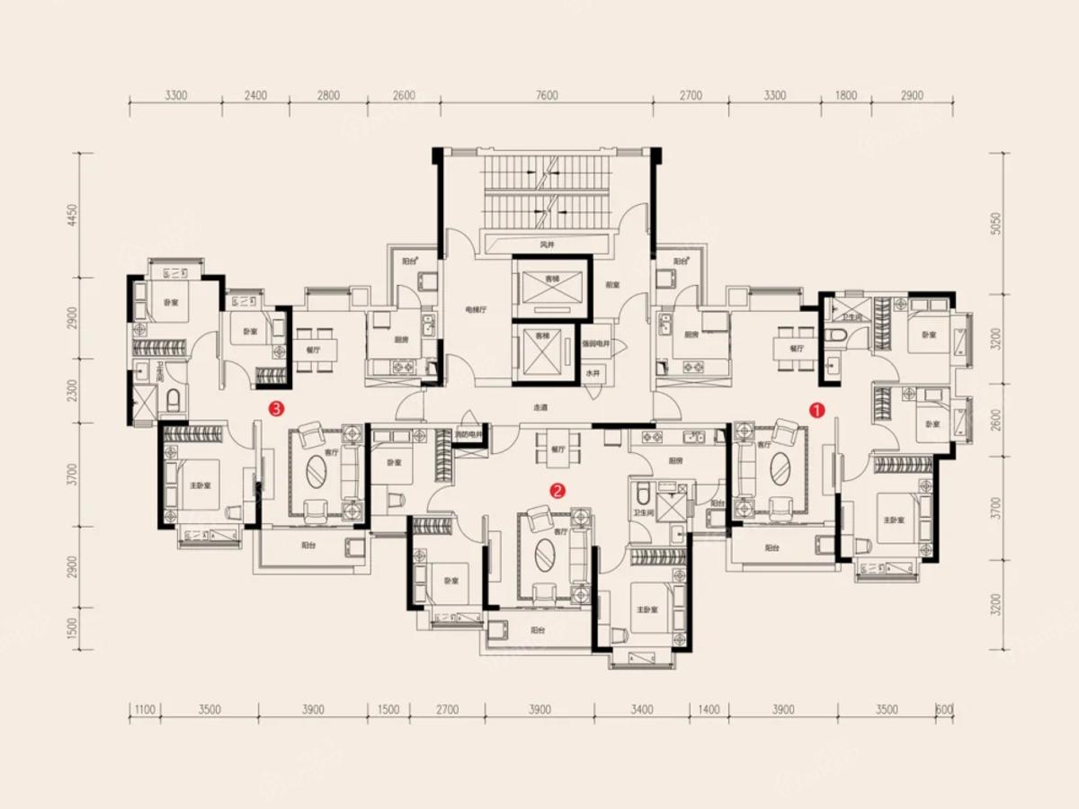 武汉恒大文化旅游城3室2厅1卫户型图