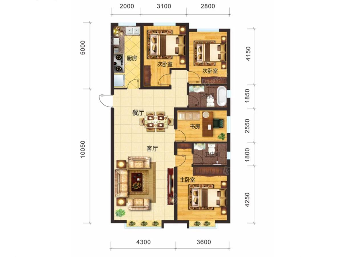 新天润国际社区六期·橙郡3室2厅2卫户型图