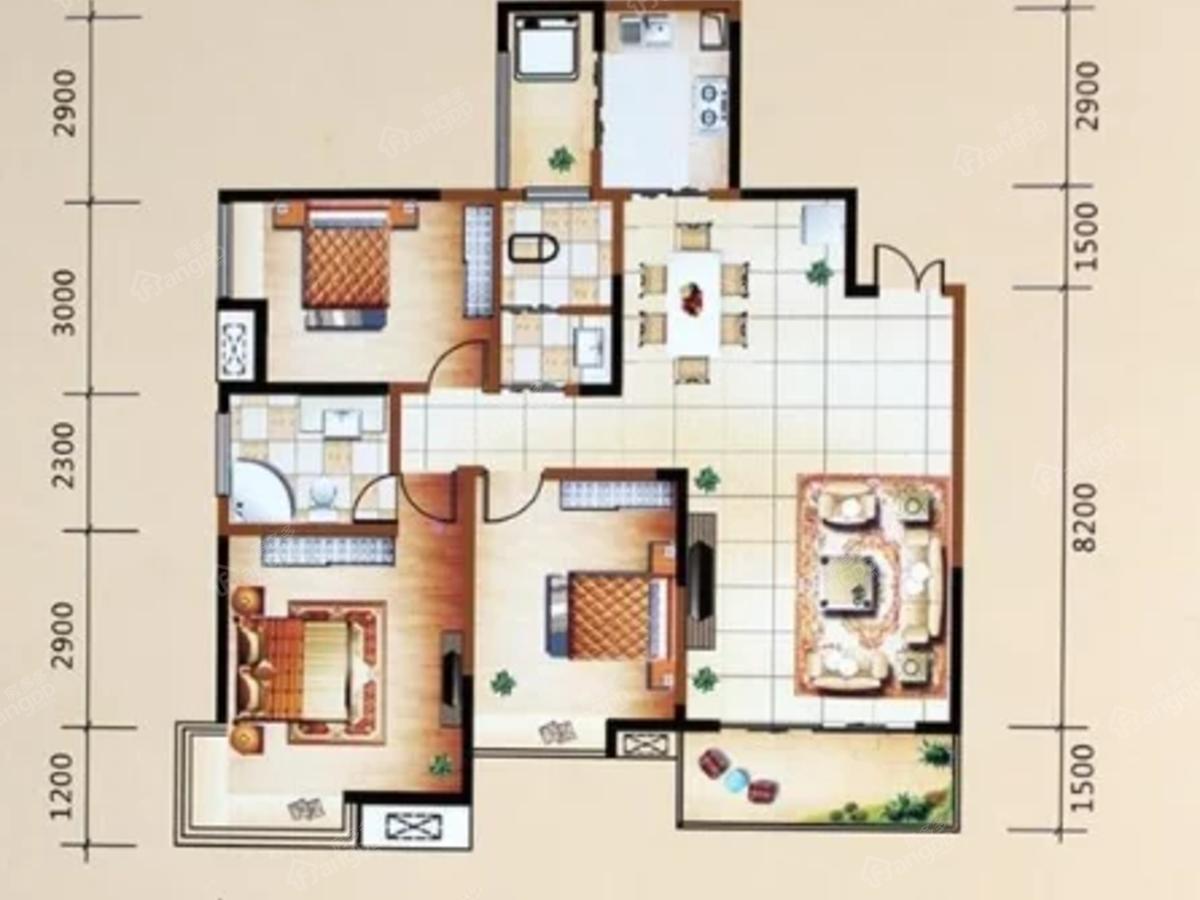湾田家园3室2厅2卫户型图